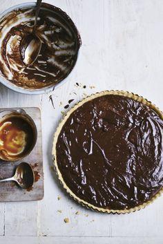 Dark Chocolate, Chilli Caramel and Macadamia Nut Tart