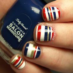 Sailor stripes nail art