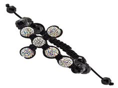 Multicolored and White Crystal Bead Shamballa Macrame Sideways Cross Bracelet (Online at Gemologica.com)