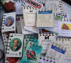 Love this idea! Repurposed playing cards from board games like Monopoly, Sorry! and Clue used for note pad covers.