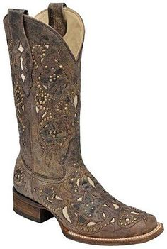 Womens Distessed Brown/Bone Inlay Square Toe Corral Boots
