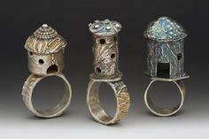 silver castle ring house hut made in america by lynncobb on Etsy, $165.00