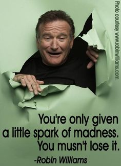 """You're only given a little spark of madness.  You mustn't lose it."" ~Robin Williams #quote  (08/11/2014: Peaceful blessings on your journey, Robin. <3)"