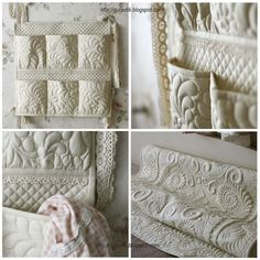 Wonderful machine quilting -- solid color quilts are so pretty!  I love the white/cream/moss green ones especially.