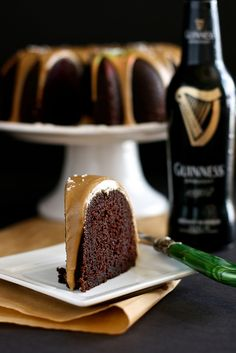 Guinness Chocolate Cake with salted caramel glaze