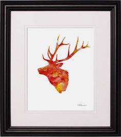 Deer Head  Red  Print from Original Painting by FluidDiamondArt, $12.00
