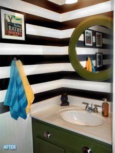 bathroom makeovers, small bathrooms, bathroom idea, black white, bathroom help, kid bathrooms, guest bathrooms, stripe, powder rooms