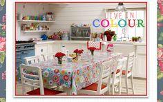 decor, idea, tablecloth, plate rack, colorful kitchens, cath kidston, hous, cottage kitchens, vintage kitchen