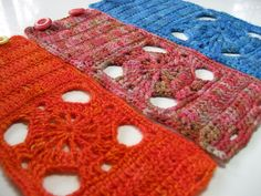 Spokes Cuffs flat by mercedesknits, via Flickr