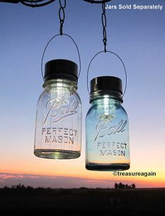 2 Hanging Mason Jar Solar Lights™ the Original Hanging Solar Lid Design by treasureagain  http://etsy.me/XFc4rK
