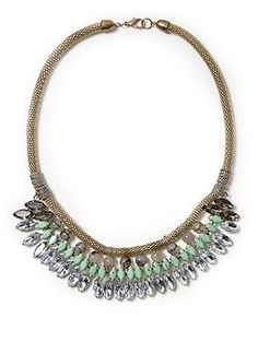 Tinley Road Clear and Mint Faceted Jewel Necklace  Piperlime