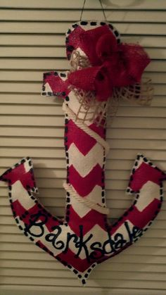 Burlap anchor door hanger. $35.00, via Etsy.