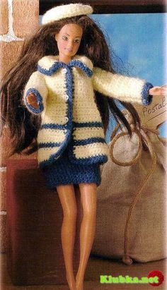 Travel dresses for Barbie doll with diagram