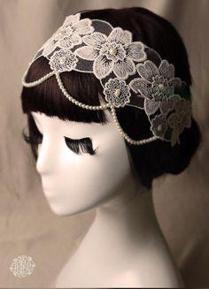 Bridal lace headband with pearls, wedding ivory headband, boho chic bride, bridal headpiece,White Pearl Beading Lace Headband