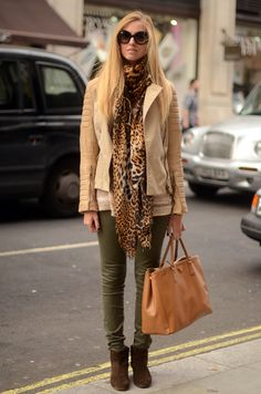 ISABEL MARANT BOOTS  SEVEN FOR ALL MANKIND OLIVE GREEN JEANS  MIKKAT MARKET STRIPED SWEATER  HERMES COLLIER DE CHIEN BRACELET  CHOPARD RING  BURBERRY PRORSUM CREAM LEATHER JACKET  PRADA BAG  YVES SAINT LAURENT LEOPARD SCARF  PRADA SUNGLASSES  sep