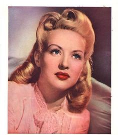 """Betty Grable. The good ol' song and dance girl! And the original Pinup Girl. Betty always had great costumes and the BEST hairstyles. My favorite Betty movies include - """"The Dolly Sisters"""", """"Pin-Up Girl"""", """"Song Of The Islands"""", """"Down Argentine Way'...and the list goes on..."""
