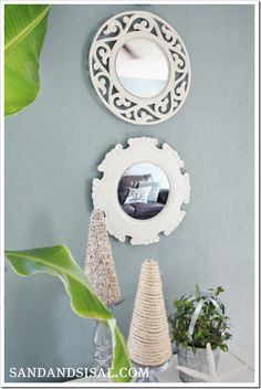 DIY mirrors using Pier 1 Open Scroll and Carved White Chargers