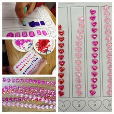 February counting center: heart necklace strands and sponge paint...free printable