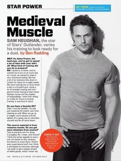 Sam Heughan in Muscle and Fitness magazine