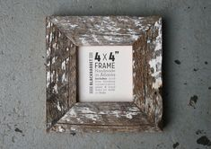 Reclaimed Whitewashed Pine Picture Frame (4 x 4 inches)