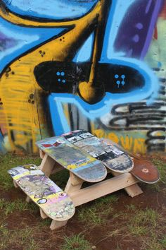 Have a few skateboards on hand? Make a picnic table like this!