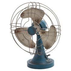 Antique-inspired decorative fan.   Product: Fan decorConstruction Material: MetalColor: Blue