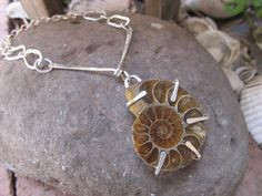 Ammonite fossil artisan necklace  hand fabricated in sterling silver  by JoDeneMoneuseJewelry