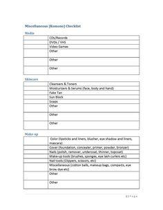 Komono checklist pri