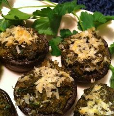 Pesto-stuffed mushrooms are perfect for a party
