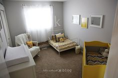Love this baby/toddler room. My granddaughter would love it! toddler room, kid bedrooms, color, shared nursery, shared rooms, nurseri, kid room, toddler bed, girl rooms