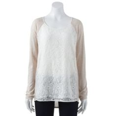 LC Lauren Conrad Lace Mixed-Media Tunic - Women's #Kohls
