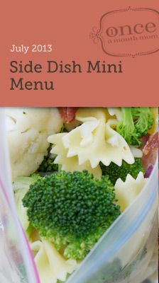 Side Dish Mini July 2013 Menu - Whip up some freezer friendly side dishes to accompany your favorite freezer meals or to take along to potluck gatherings. #freezercooking #sidedish #oamc Freezer Meal Side Dishes, Food Recipes, Recip Cook, Freezer Meals, Sidedish, Cook Guid, Cooking Tips, Freezer Side Dishes, Mini Menu