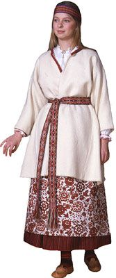 Traditional Finnish folk costume, a woman´s dress representing the region of Lavansaari, part of the former Finland, today belonging to Russia.