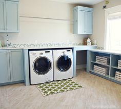 I would love to have a laundry room this big!  Space to fold clothes and sit the laundry basket and the hanging rack is just awesome!  House of Turquoise: Hiya Papaya + Four Chairs Furniture