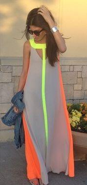 Street style: BCBG Maxi dress Neutral + neon.