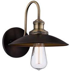 "Widefield 8"" High Antique Brass Metal Sconce - #3X121 | LampsPlus.com"