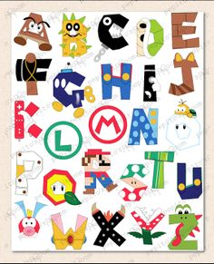 PrintINK Super Mario Bros. Alphabet Poster Wall Art by PepitosRoom, $10.00