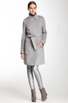 Carey Peplum Back Wool Blend Coat//
