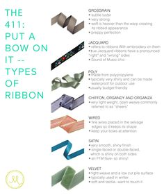 The 411: Put a bow on it. Types of ribbons. DIY Supplies Made Easy