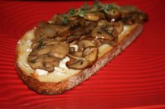 Mushroom Bruschetta with Goat Cheese