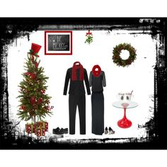 """""""Christmas Program Attire"""" All black head-to-toe with red scarves"""