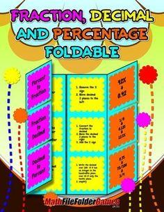 Fraction Decimal and Percentage Foldable http://www.teacherspayteachers.com/Product/Fraction-Decimal-and-Percentage-Foldable-1410347