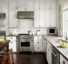 Concrete countertop in white kitchen