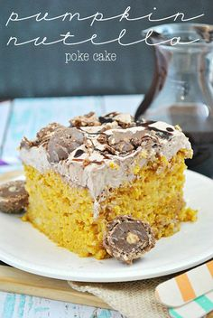 Pumpkin Nutella Poke Cake - use gf cake mix and eliminate the Rocher chocolates