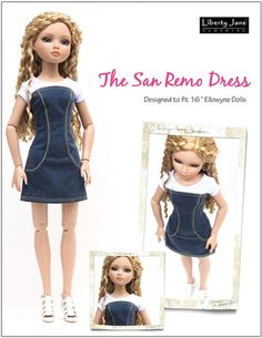San Remo Dress for Ellowyne Dolls - PDF sewing pattern - Liberty Jane - Pixie Faire