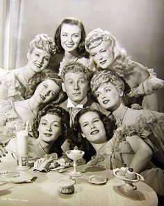 "Danny Kaye with beautiful ladies in ""Up in Arms,"" 1944  #1940s #vintage #Hollywood"