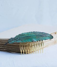 Large FEATHER Hair Comb Verdigris Patina