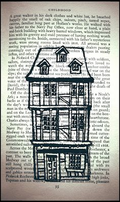 Antique houses on old pages