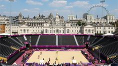 Beautiful view of the Beach Volleyball venue at the Horse Guards Parade.