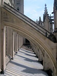 Flying buttress supports typical of Gothic architecture | Washington National Cathedral...
